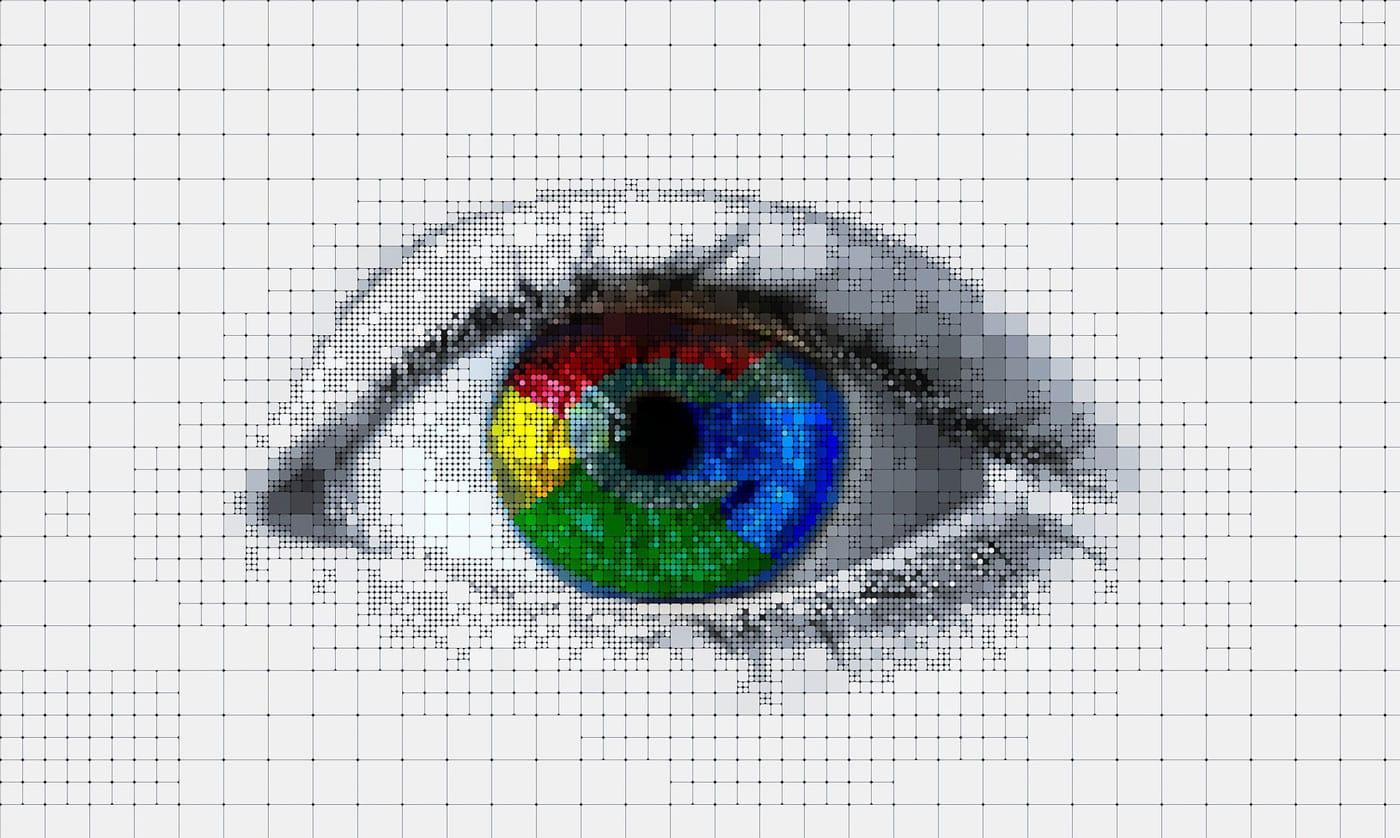 google logo in an eye
