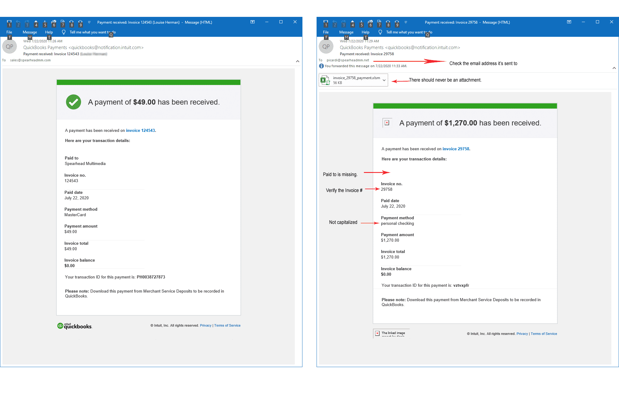 QuickBooks Payment Phishing email vs. real payment email