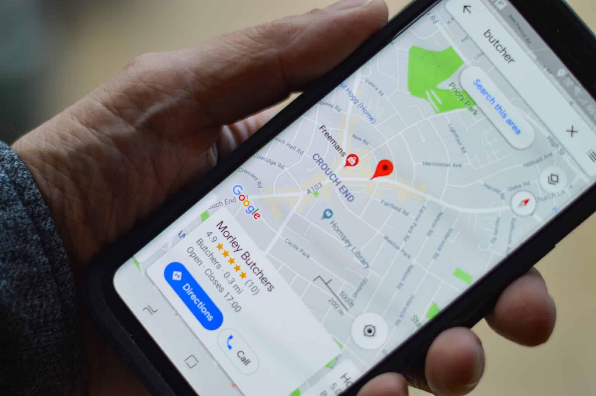 Google maps on a smartphone