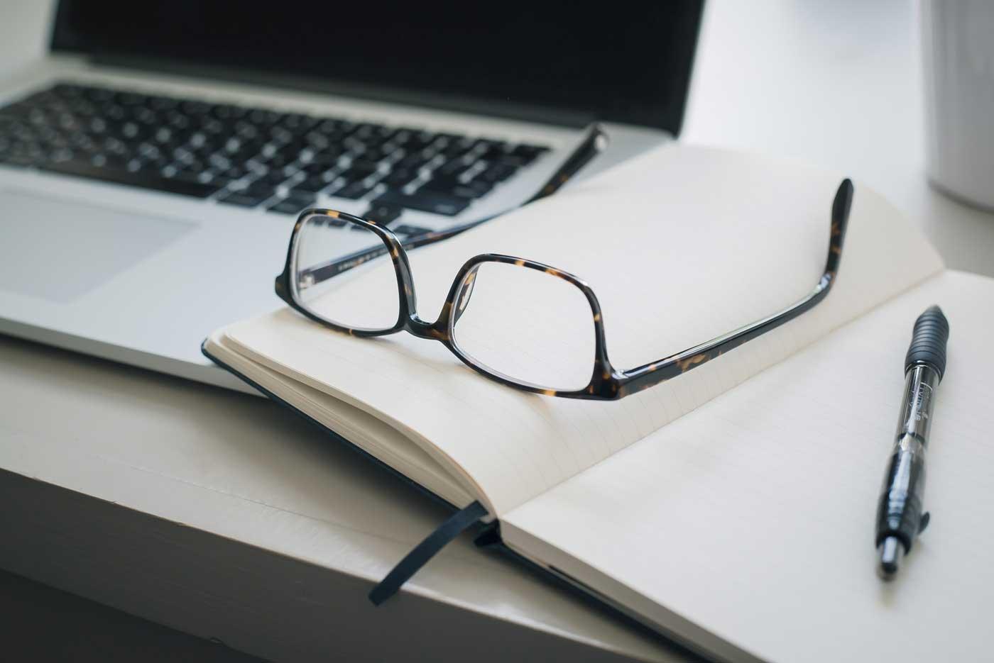 laptop, glasses, notebook