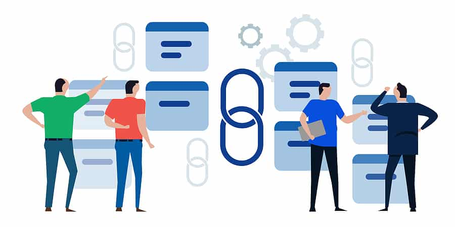 link building backlink symbol chain website SEO optimization team discuss